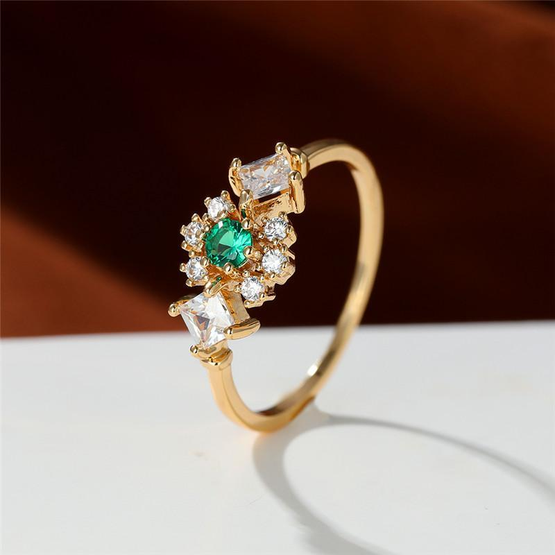 Wedding Rings Female Dainty Green Zircon Stone Ring Luxury White Crystal Square Trendy Gold Color Thin Engagement For Women