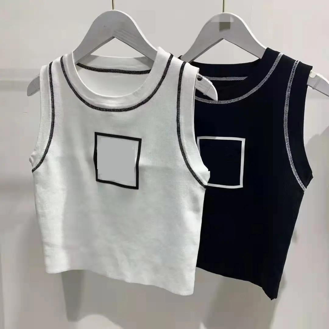 T-shirt Ladies Top Tank Brand Cotton Sexy Sexy Camisole ricamato Lettera a maniche corte all'ombelico