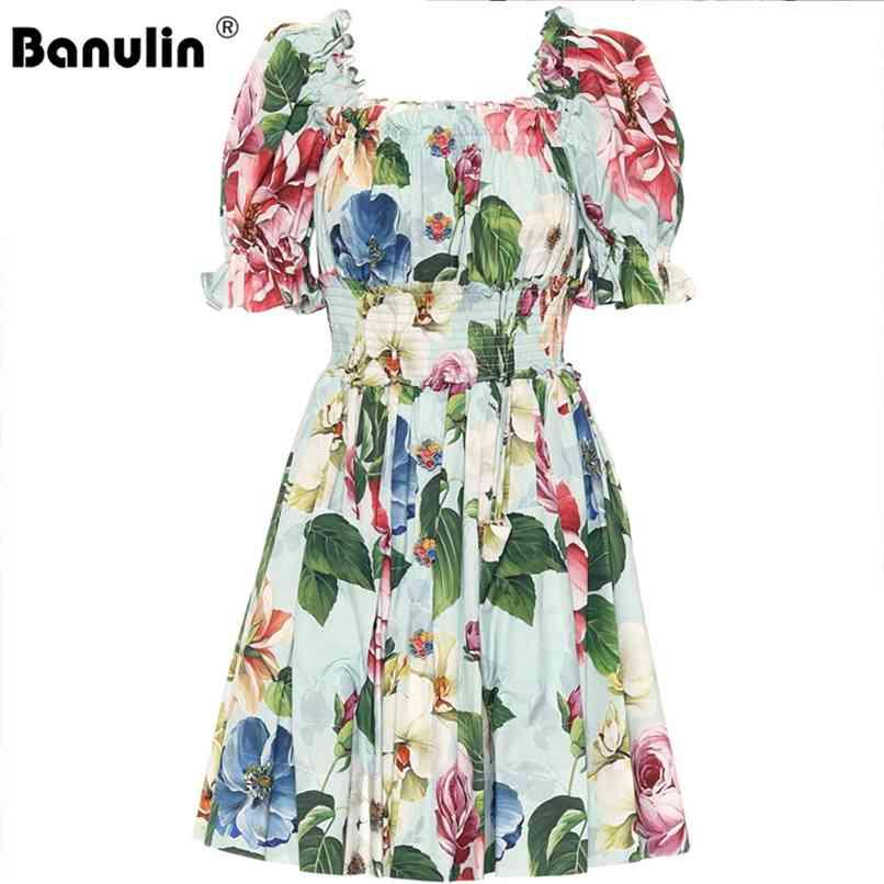 Runway Floral Vestido de Verão Mulheres Off Shuff Slow Sleeve Beading Botões Elastic Cintura Beach Boho Curto Mini 210521