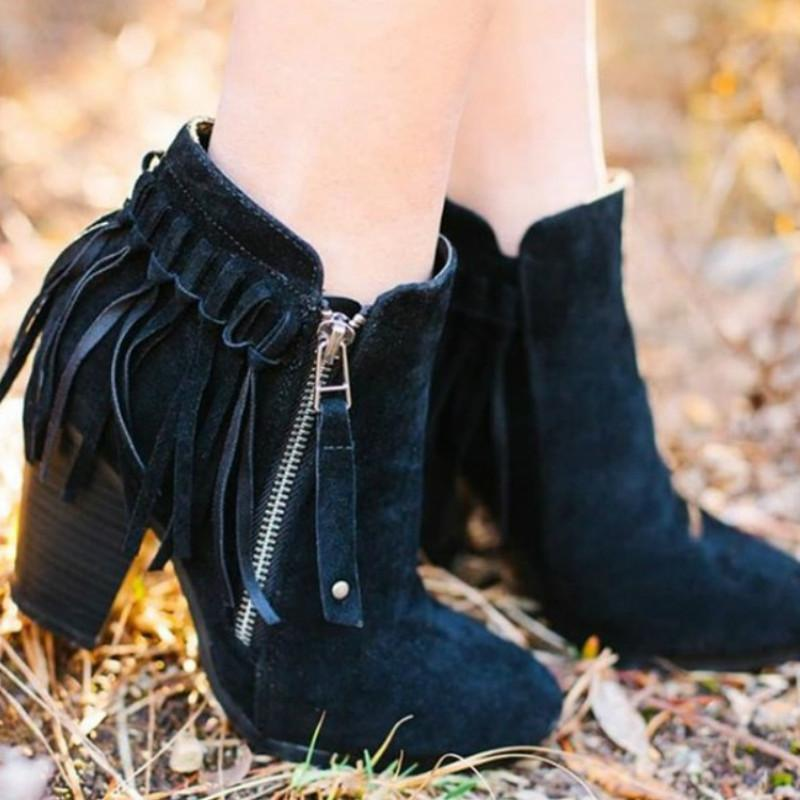 Boots 2021 Autumn Party Women Shorts Pointed Toe Low Heel Side Zipper Fringe Retro Fashion Tassel Ankle Booties Women's Shoes