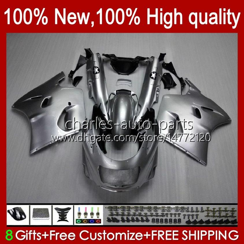 Corpo per Kawasaki Ninja ZX-11 R ZZR-1100 ZX-11R ZX11R 90 91 92 93 94 95 30hc.15 Glossy Silvery ZZR 1100 cc ZX 11 R 11R ZX11 R ZZR1100 1996 1997 1998 1999 2000 2000 Kit carenatura