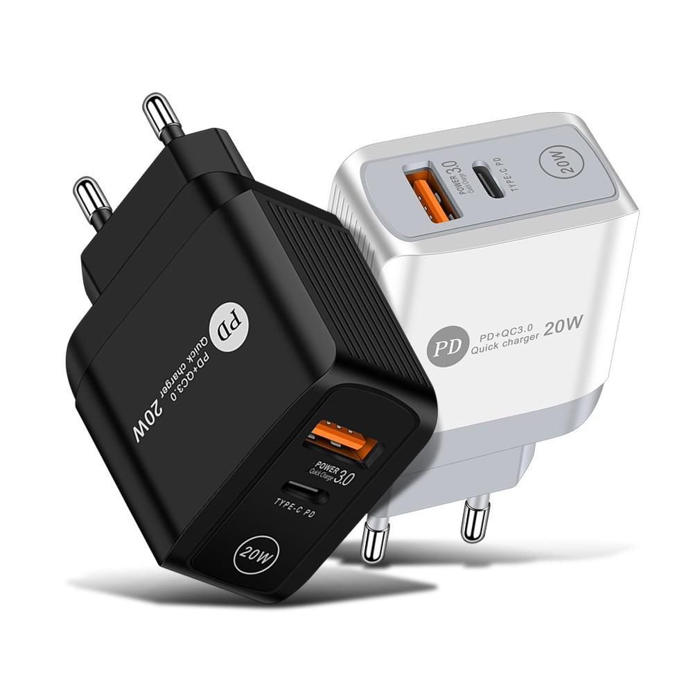 18W 빠른 충전 QC 3.0 PD 타입 C USB 휴대 전화 충전기 US EU UK 플러그 아이폰 11 12 PRO MAX X XR 7 8Plus Samsung Note 20