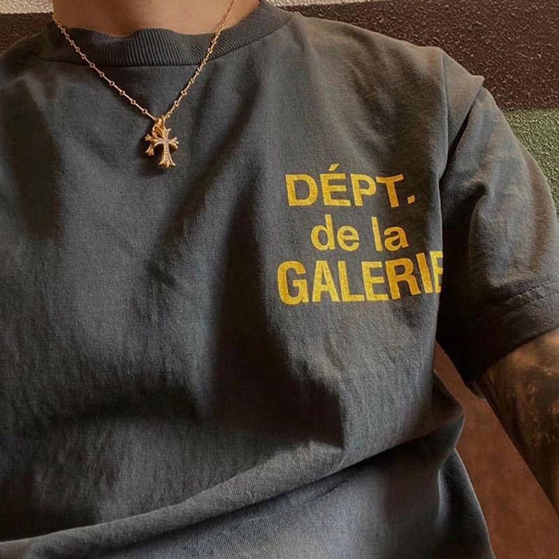 Galeri Bort Moda Marka Fransız Mikro Etiket Mektup Baskı Yüksek Sokak Gevşek Kısa Kollu Erkek T-Shirt Ve Bayan Baz Gömlek DY5O