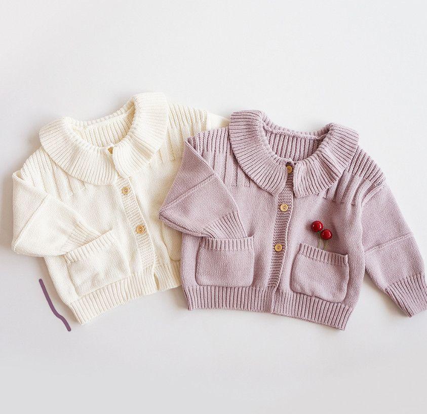 Ins Kinder Revers Doppel Tasche Strickpullover Cardigans Kinder Einreiher Pullover Mädchen Baumwolle Stricken Princess Outwear A6972