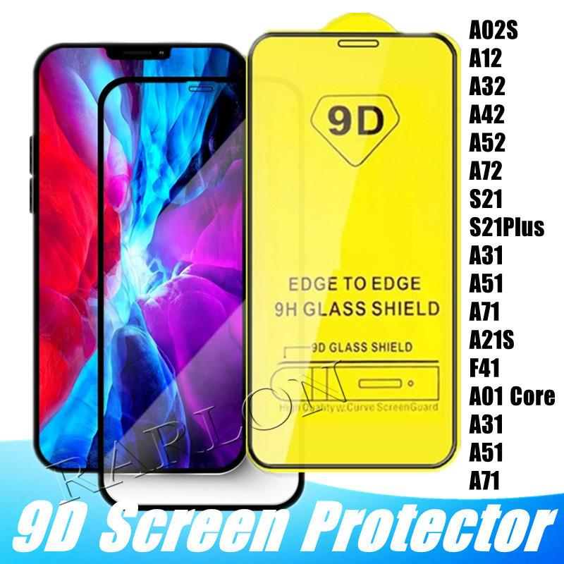 9D tampa de vidro temperado glue completo 9h protetor de tela para iphone 12 11 pro max xs xr x 8 samsung s20 fe s21 plus A12 A02S A32 A42 A52 A72 5G A31 A51 A71 A21S Huawei P40 p Smart