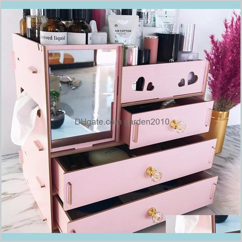 Storage Boxes & Bins Home Organization Housekeeping Garden Junejour Diy Wooden Box Makeup Organizer Jewelry Container Wood Drawer Hand