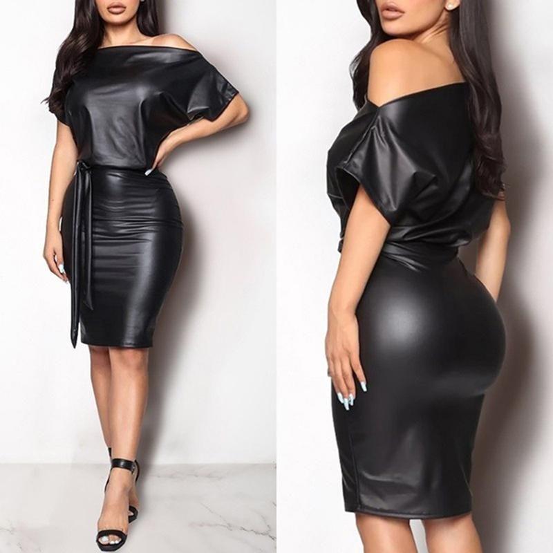 Kadın PU Deri Mini Elbise Seksi Siyah Ekip Boyun Islak Bak Bodycon Bandaj Parti Kulübü Artı Boyutu Günlük Elbiseler
