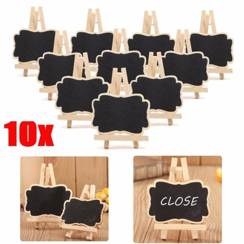 Blackboards 10 Adet / takım Ahşap Blackboard Evrensel Mesaj Kurulu Mini Kara Tahta Taşınabilir Düğün Parti Dekor Dekoratif Parçalar