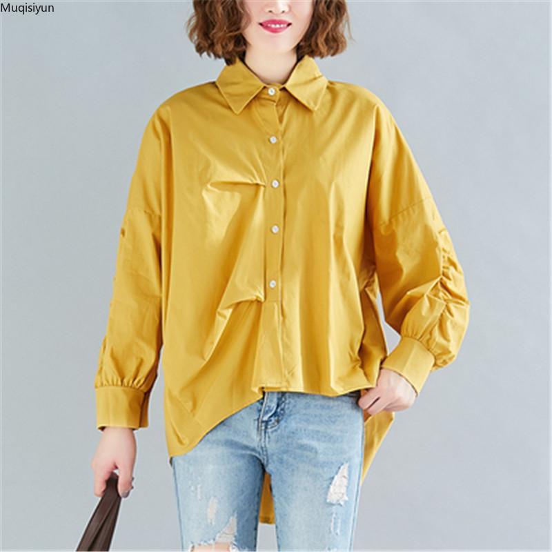 Talla grande Mujer Blusa Camisas Oficina Tops Tops Túnica Algodón suelto Manga Larga Pliegues Sólido Casual Ropa Hembra Spring S3250 Blusa de las mujeres