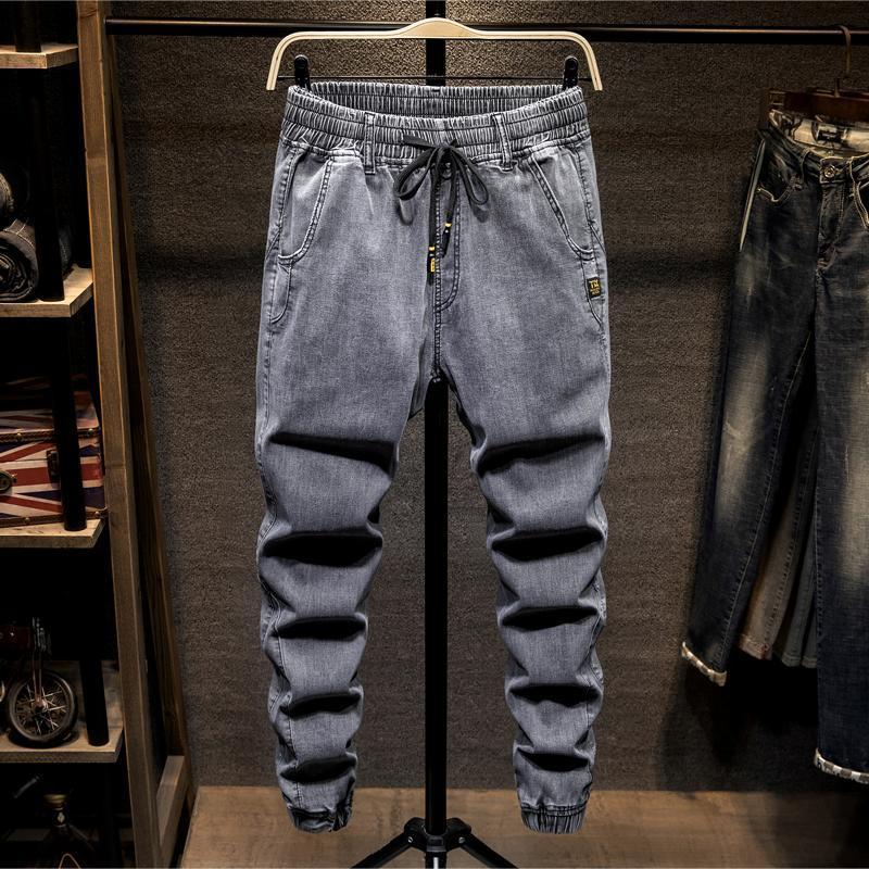 Jeans masculinos 7xl 6xl 5xl plus size harem verão fina solta cordão casual cinza denim calças de grandes dimensões cuecas de rua