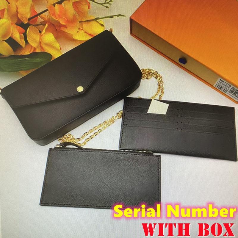 Luxo Designer Bolsa Pochette Felicie Saco Data Código Genuíno bolsas de couro de embreagem bolsa de compras de bolsa com caixa