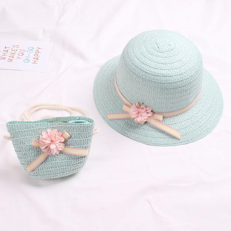 아기 소녀 여름 짚 태양 바이저 모자 지퍼 숄더 가방 달콤한 사탕 색 꽃 bowknot 자외선 보호 해변 모자 모자