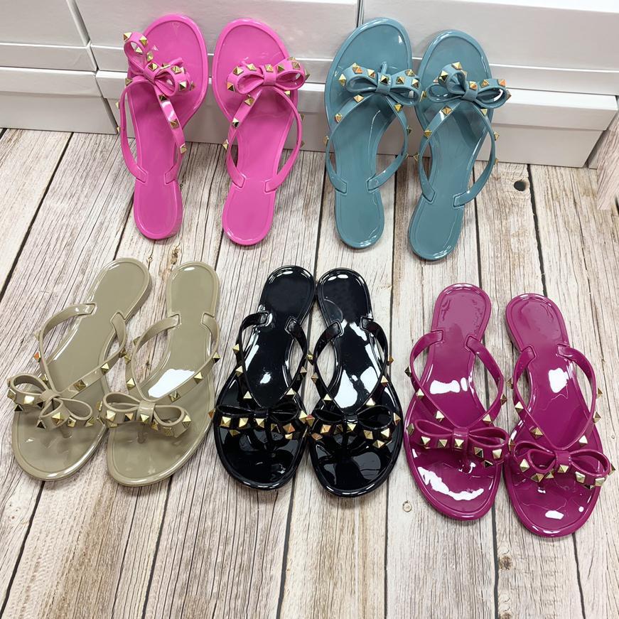 Womens Schmetterling Gelee Hausschuhe Mode Sommer Flache Strand Flip Flop Sandalen Top Designer Luxurys Damen Früchte