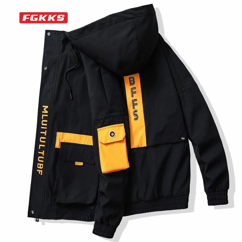 Jaquetas masculinas fgkks jaqueta homens primavera 2021 coreano moda tendência carta impressão casual tamanho grande juventude outwear