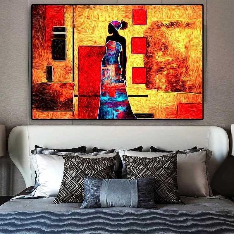추상 그림 부족 캔버스 그림 빈티지 아프리카 여성 초상화 포스터 및 인쇄 벽 아트 사진 거실 홈 장식