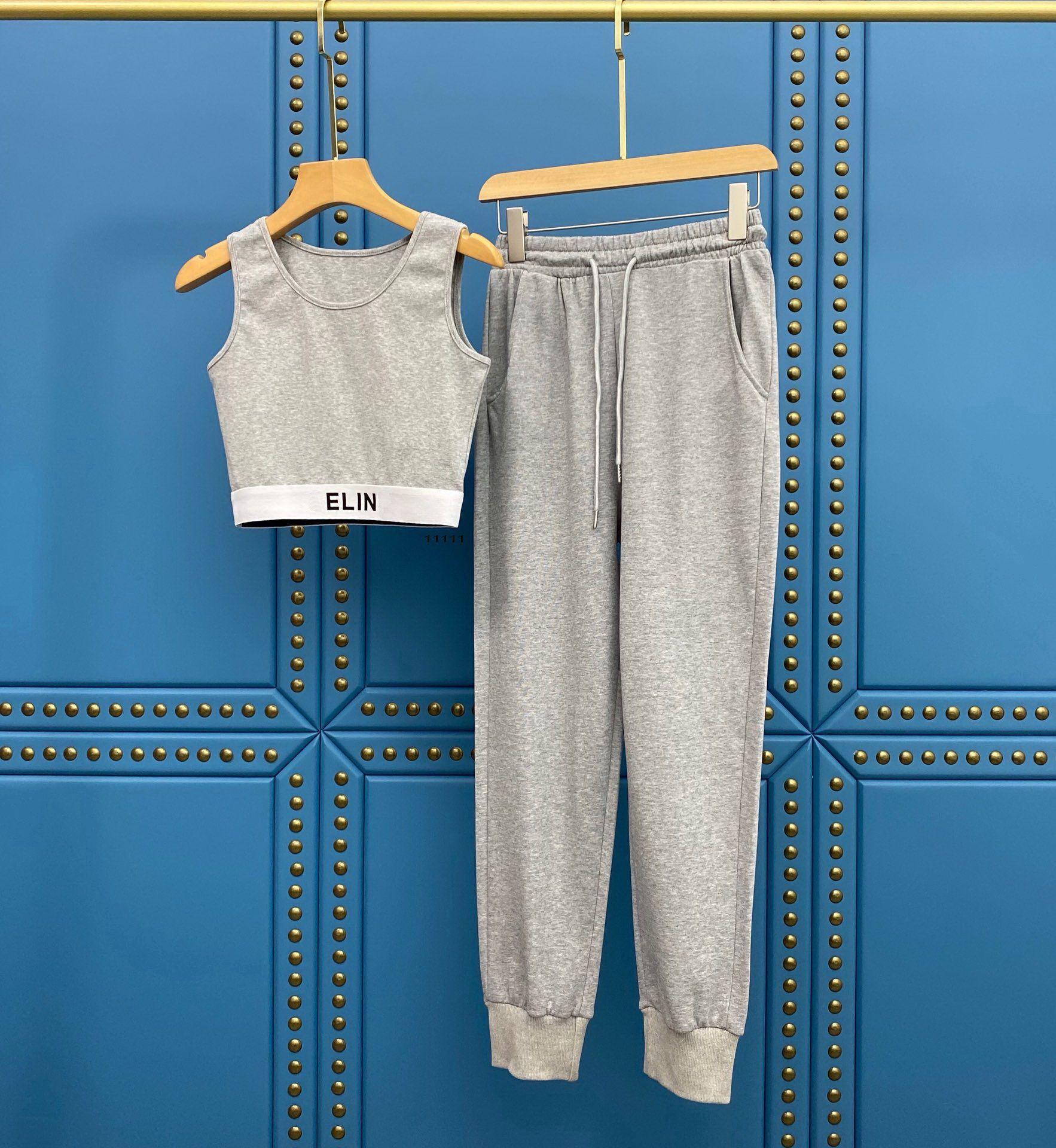 2021 Verão Mulheres S Tracksuits Dois Peças Conjuntos Crop Top Bikini com Long Calças De Designer Roupas Causual Wear Yoga Terno