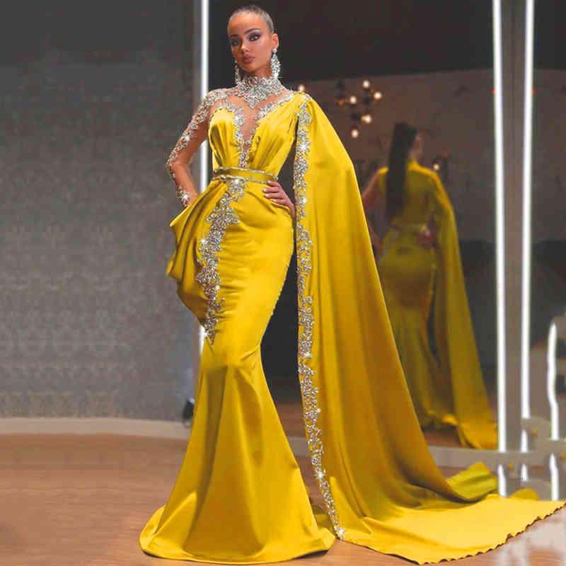 EightAale Ouro Vestidos De Noite Alta Pescoo Frisado Strass Sereia Vestido Baile Cabo Mangas Compridas Cetim Rabe Dubai