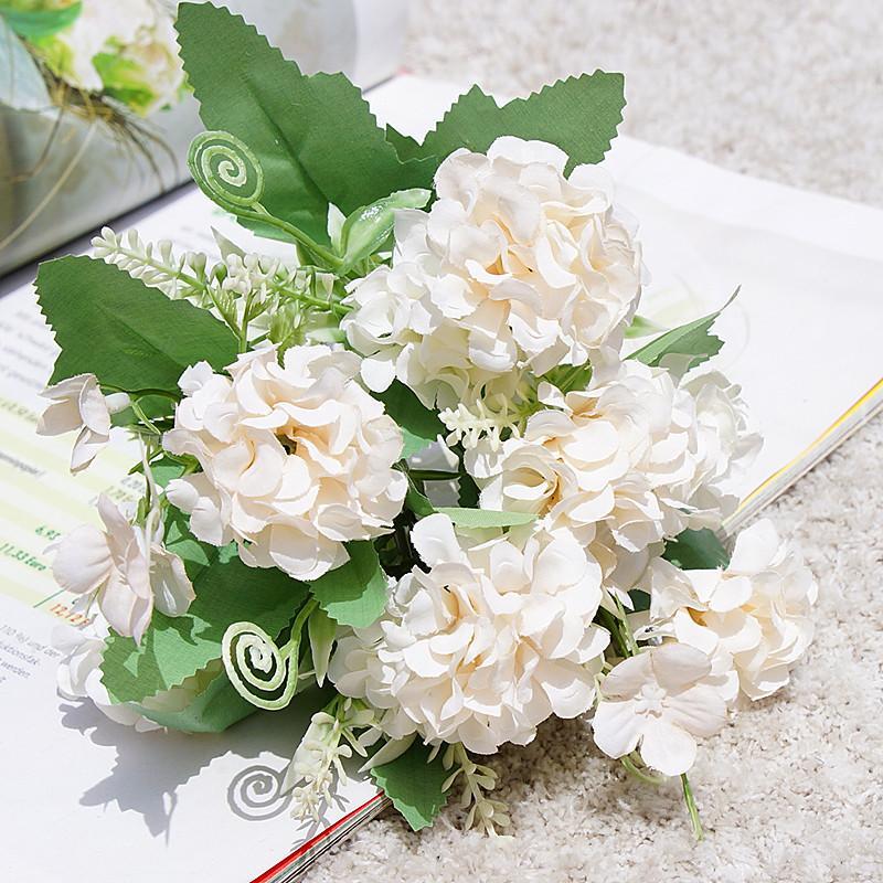 Hydrangea Fleurs artificielles 9 têtes Boule Bunch Silk Fausse fleur pour Wealing Home Décoration Table Hydrangeée Petit bouquet 1413 V2