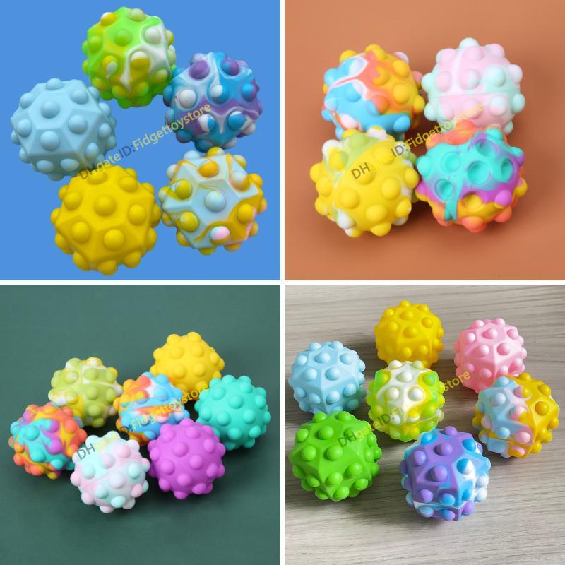 Fidget Bubble Ball Toys Vent Balls Balls 3D Decompressione Spremere Squishy Semplice Dimple Gioco Sensoriale Toy for Autism Needs Special Bisent Stress Reliever Silicone Bambini Regali