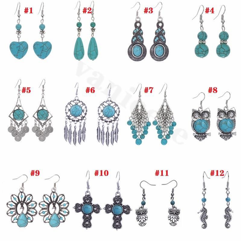 Donne di modo di modo di fascino degli accessori di stile nazionale e orecchini in pietra del turchese orecchini bohémien retro gioielli orecchini 9154