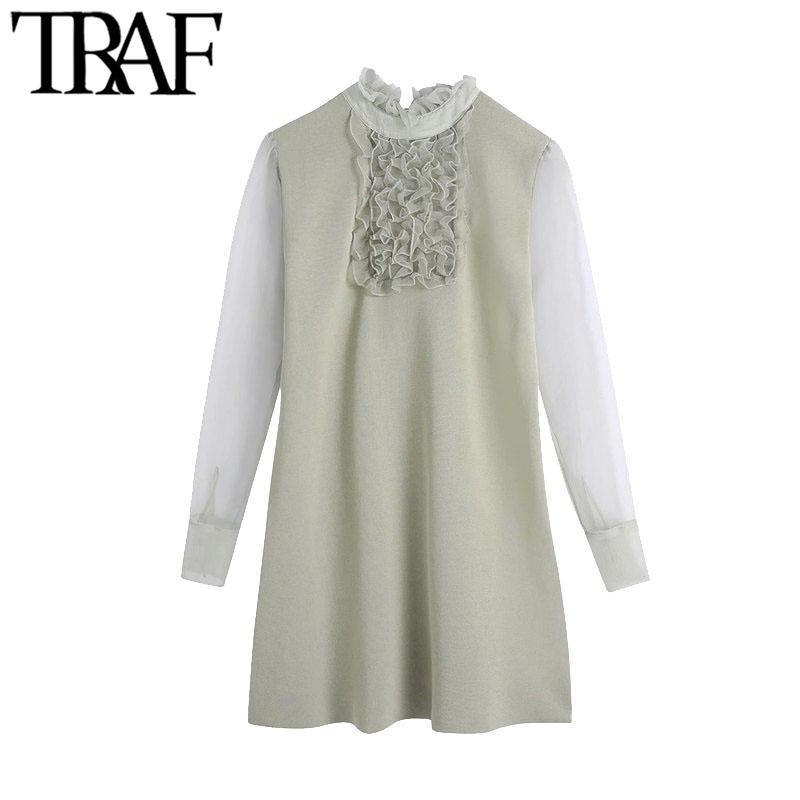 TRAF Frauen schicke Mode mit Organza Rüge gestrickte Minikleid Vintage High Neck Langarm Weibliche Kleider Mujer 210415