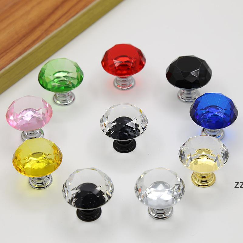 Diamond Crystal Glass Door Knobs Handles Knob Screw Fashion 30mm Drawer Cabinet Screws Furniture Accessories HWB8565