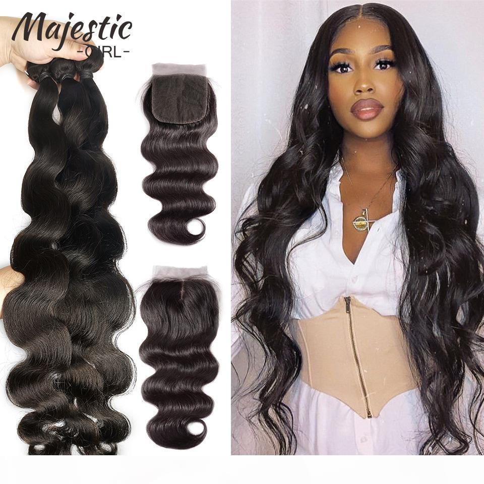 Бразильские пакеты волос для волос 34 36 38 40-дюймовый кузовной волна 100% человеческие пачки волос с закрытием натуральный цвет Remy наращивание волос