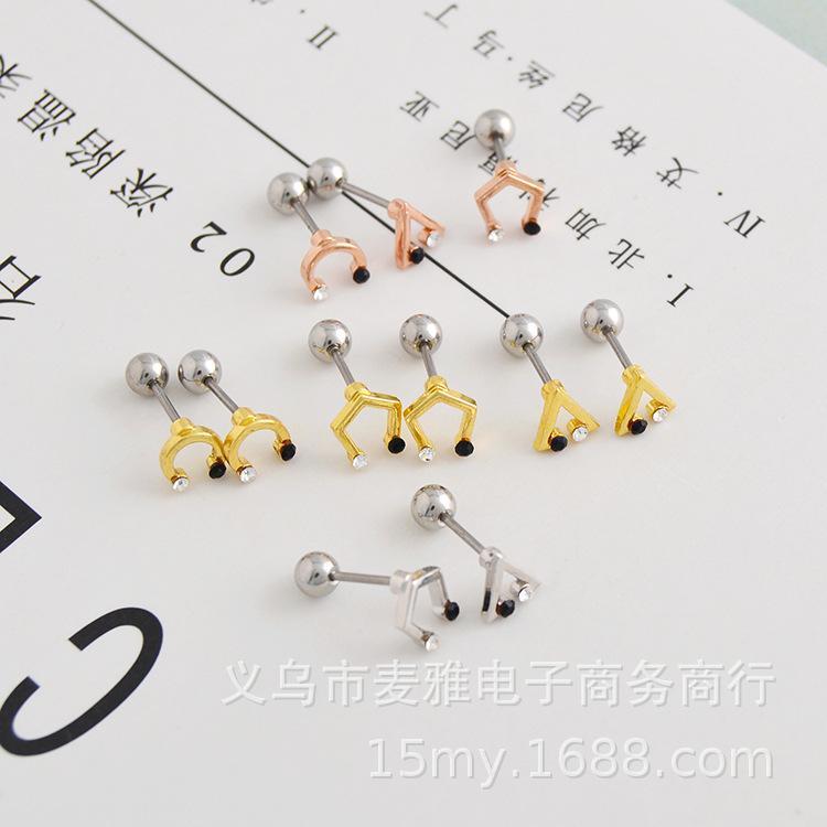 Корейский мода простая V-образная треугольник из треугольника с писем маленький костный гвоздь тонкий стержень черный и белый алмаз титановый сталь ухо