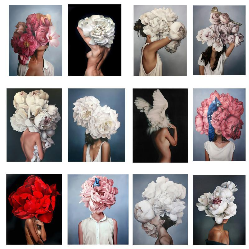 40x60 cm Vernice Abstract Modern Flowers Donne Donne Pittura ad olio DIY Numero su tela Decorazioni per la casa Figura Immagini Regalo DHD6234