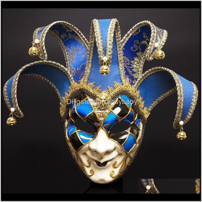 Maskeler Şenlikli Parti Malzemeleri Ev Bahçe Damla Teslimat 2021 İtalya Venedik Stil 44 * 17 cm Noel Masquerade Tam Yüz Antik Maske 3 Renkler