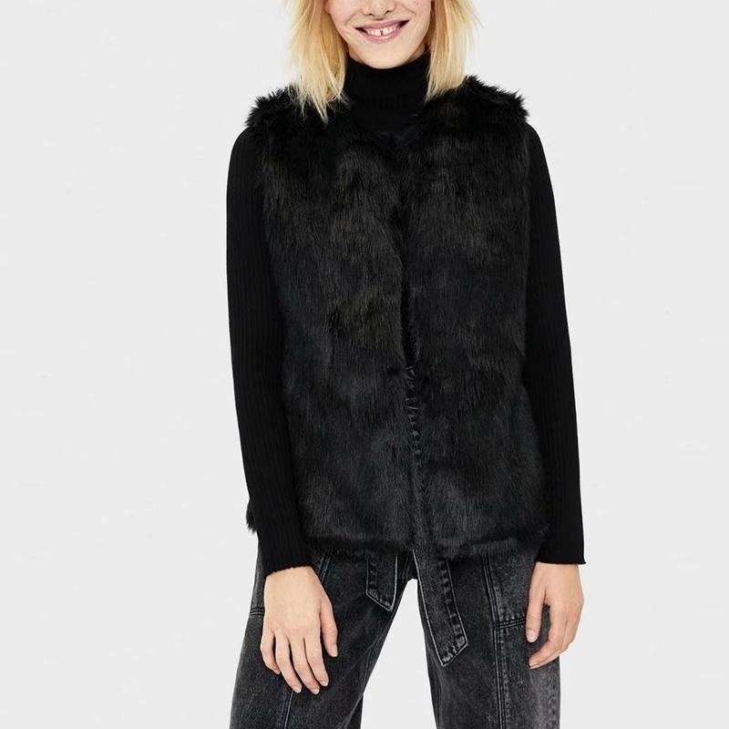 Herbst Winter Faux Pelz Weste Mode Slim Westen Warme Sleeveless Weste Jacke Schwarz XZ2597 210603