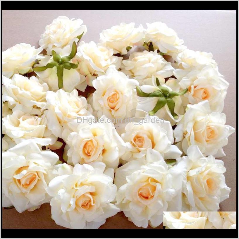 Dekorative Blumen Kränze 5 stücke 10 cm Rose Kopf Seidenblume Für Hochzeit Dekoration DIY Scrapbook Handwerk Wanddekor Künstliche 7s K8HTI