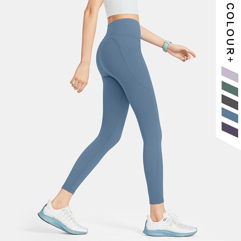 2021 LU VFU Mujer Yoga Traje Traje Camuflaje Pantalones Cintura Alta Deportes Sports Hips Gym Desgaste Leggings Elastic Fitness Medias Tie-Dye Hoja de entrenamiento Set con bolsillo