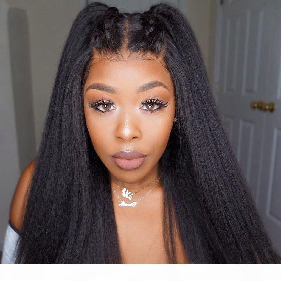 Perruques frontales de dentelle de cheveux vierges malaisiennes pour femmes noires 130% Densité Kinky Heart Height Hair Perruques naturelles