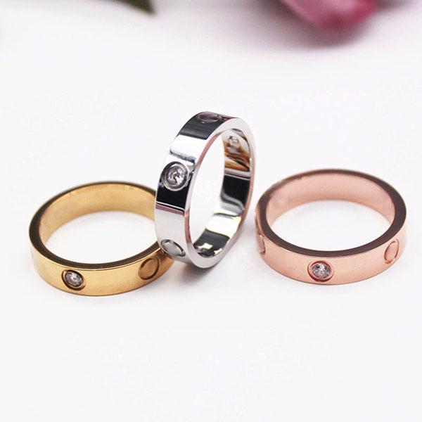 Anello in argento d'argento in acciaio in titanio Anello da uomo e donna Anello in oro rosa per amanti anello coppia per sacchetto regalo 4mm 5mm 6mm