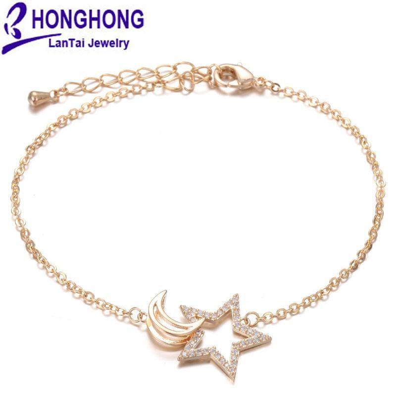 Zincir tipi zincir yıldız ay şekli bilezikler kadınlar için bakır kakma zirkonya moda takı link,