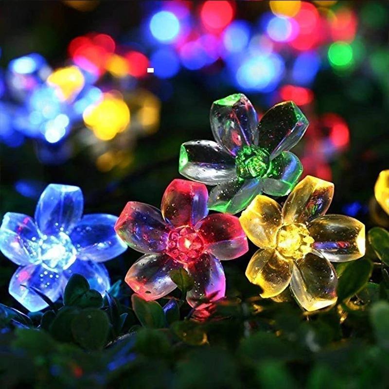 Güneş Dize Lambaları 7 M 50 Leds Şeftali Çiçek Su Geçirmez Açık Dekorasyon Garland Fariy Işıkları Noel Düğün Parti Bahçe Beyaz