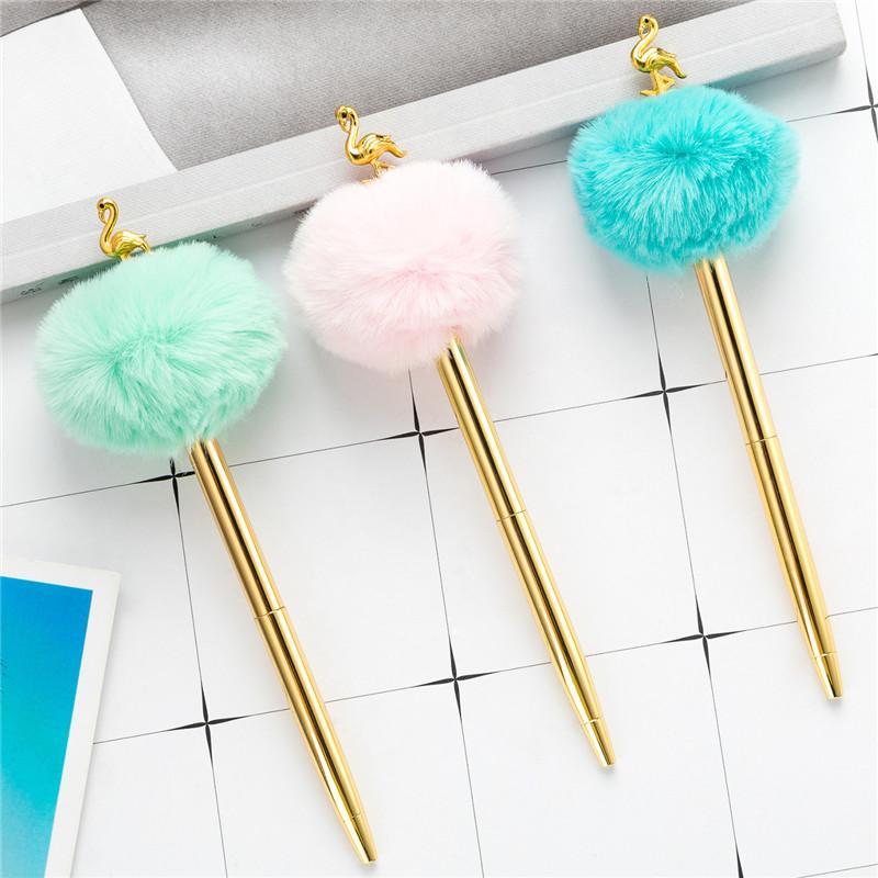 Kawaii الإبداعية كبيرة الشعر الكرة المعدنية قلم قلم فلامنغو شكل مكتب هدية