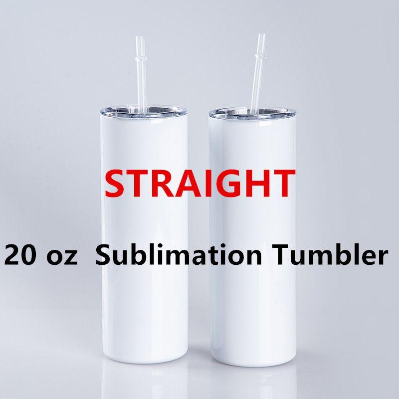 20oz sublimação tumblers em linha reta em branco embutido tumbler branco com palha de tampa 304 vácuo de aço inoxidável isolado copos sippy