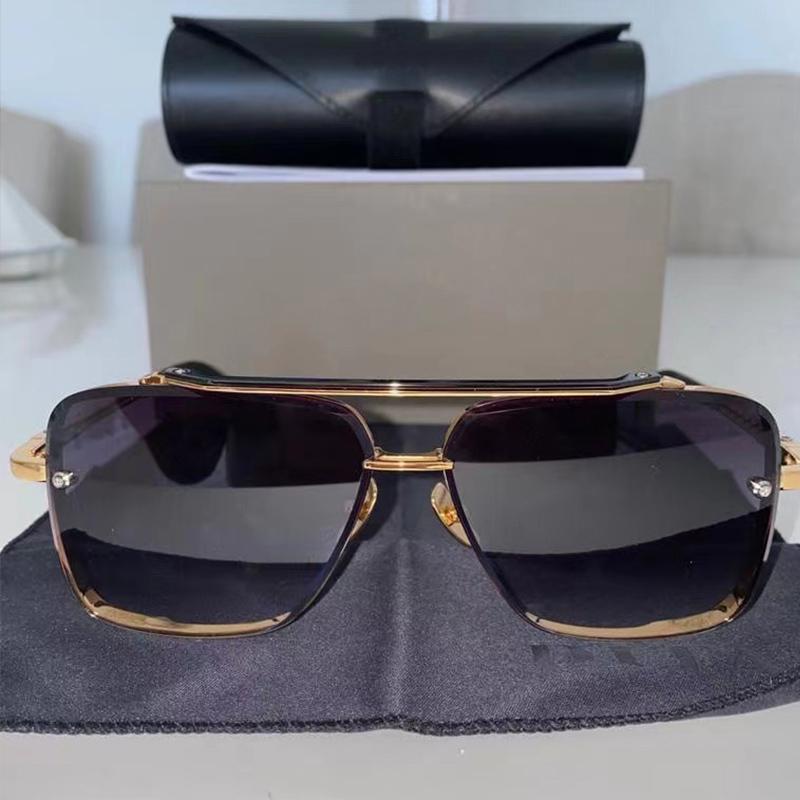 الأزياء الكلاسيكية نمط م ستة المعادن خمر النظارات الشمسية مربع فرملس uv 400 عدسة تأتي مع حزمة للرجال