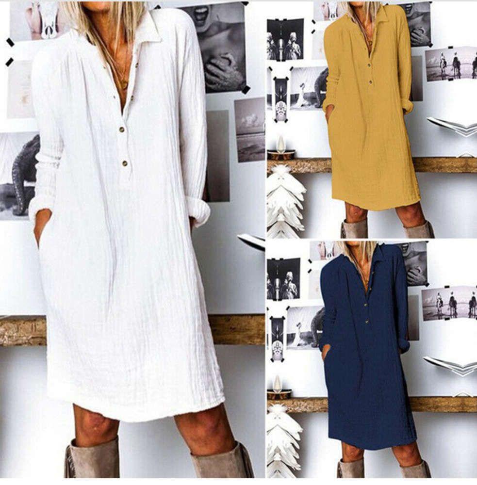 Casual DressesSpring and autumn women's dress cotton linen Long Sleeve Dress