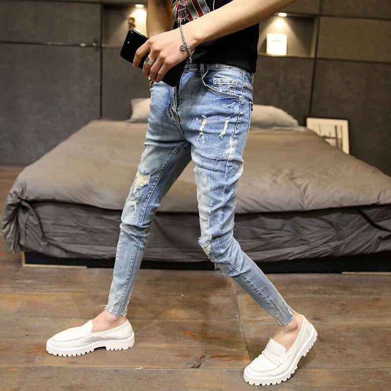 Commercio all'ingrosso 2021 Moda gay coreano slim-fit jeans skinny jeans piccoli piedi dimagranti Società Spirito Spirito ragazzo adolescenti Pantaloni matita Pantaloni da uomo