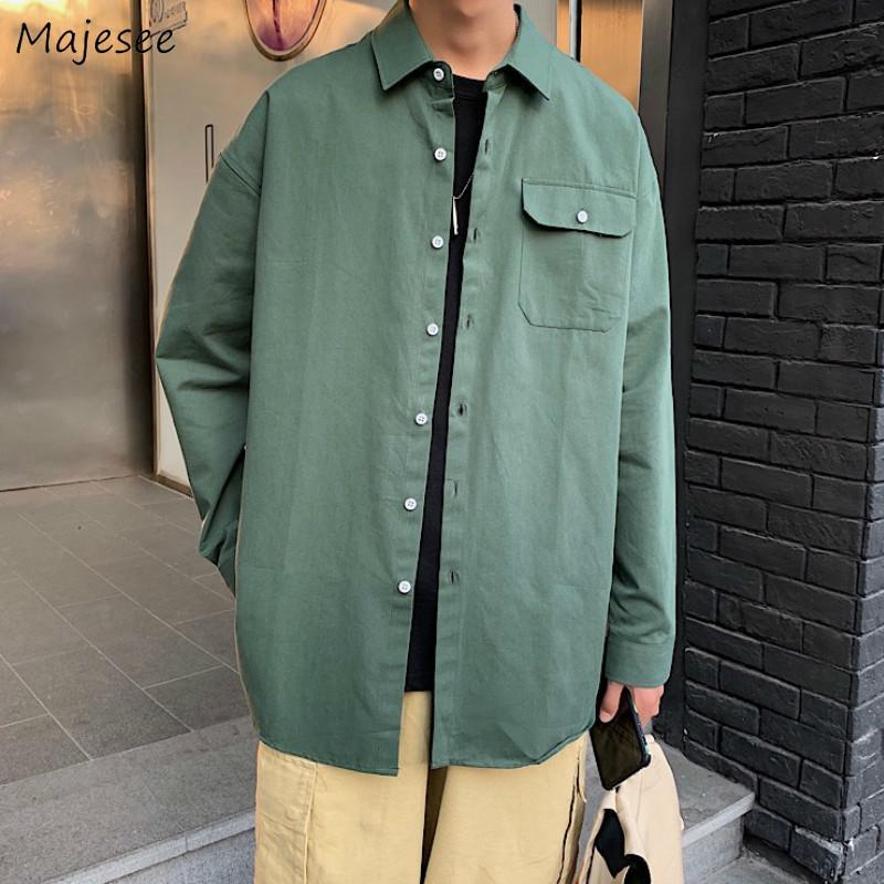 남성 셔츠 솔리드 솔리드 루스 의류 남성 간단한 패션 인스틱 캐주얼 한국어 스타일 대형 긴 소매 아늑한 스트리트웨어 남성용
