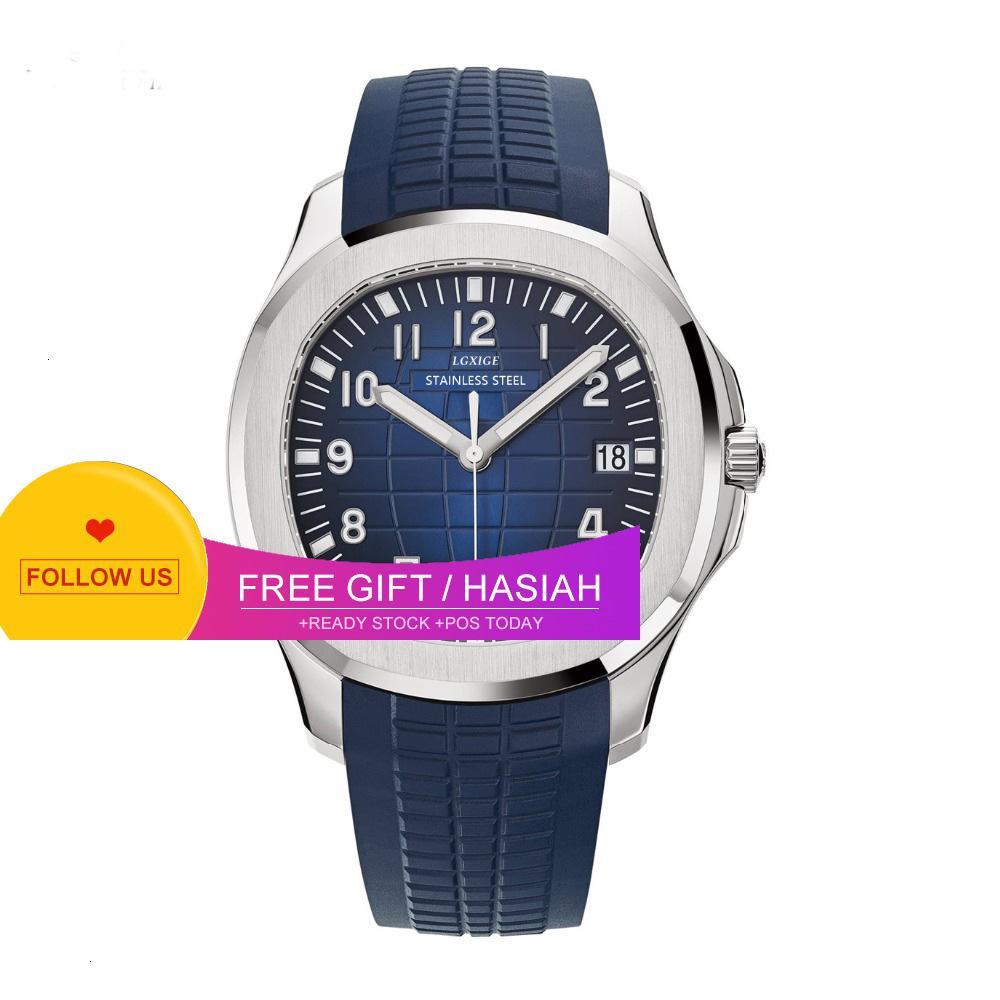 Popular langsig lgxige azul borracha esporte quartzo moda luminosa relógio impermeável