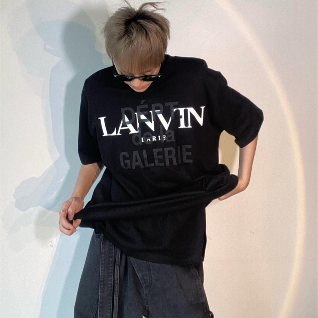 Yüksek Baskı Galeri Depto CO Markalı Üstucak Siyah Ve Beyaz Sıçrama Mektup Kısa Kollu T-Shirt
