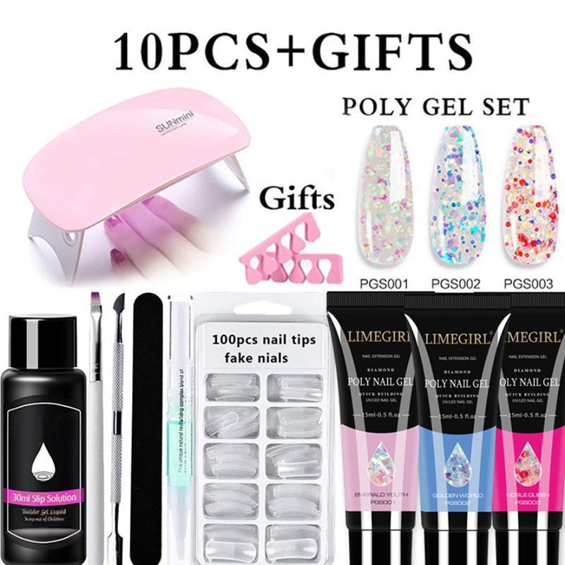 Nail Art Kitleri 15 ml Uzatma Seti Glitter Temizle Renk Seti Kristal Hızlı Yapı UV Jel Lehçe Akrilik Aracı VIP Bağlantı