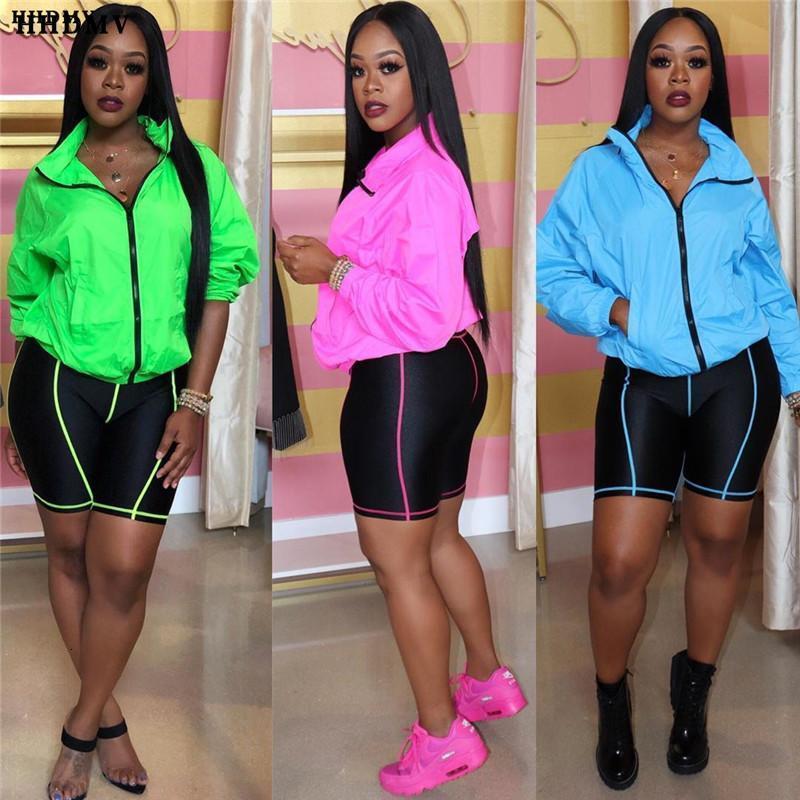 Zippers V-Neck 2021 Estate Casual Tracksuit per le donne Fashion Mujer Top Quality 2 pezzi Set da donna High Street Donne Tute