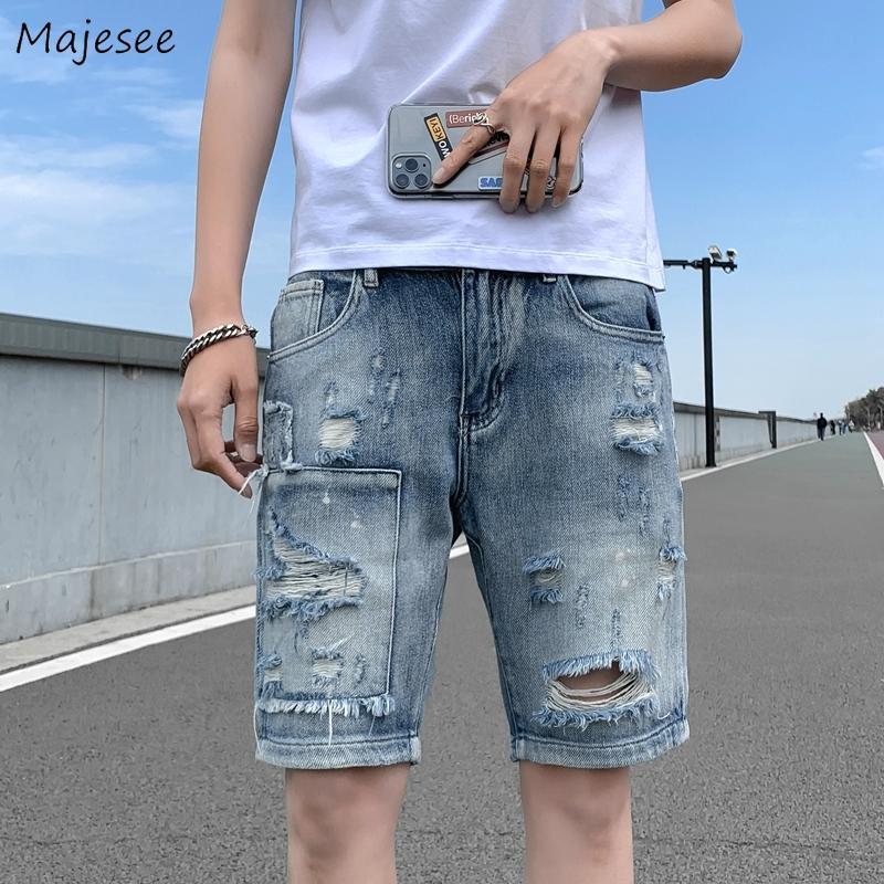 Homens Shorts Rasgado Buracos Casuais Loose Plus Size M-3XL Harajuku Bonito Masculino Denim Cresher Elegante Vintage Hip Hop Chic All Match