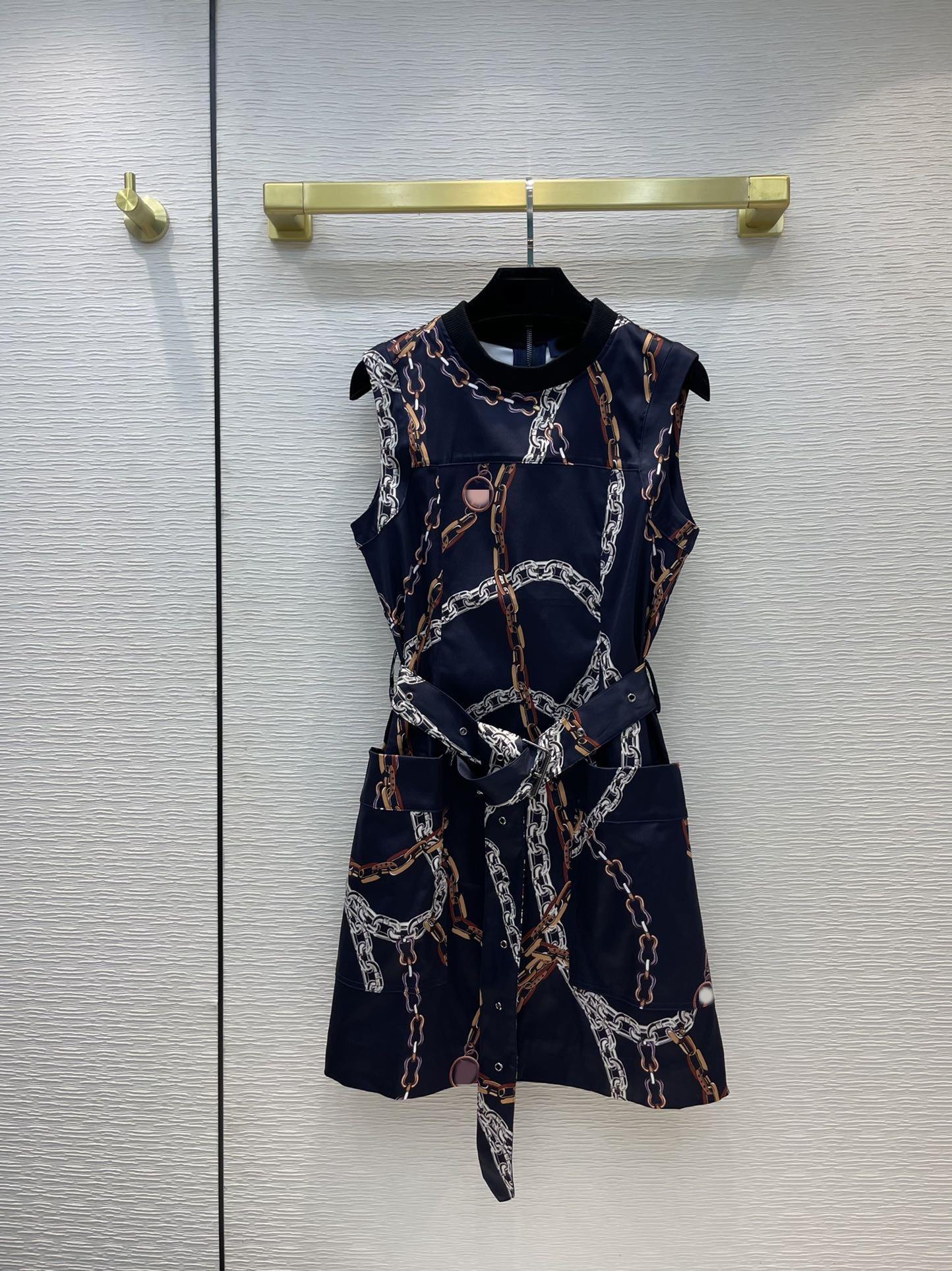 Milan Pist Elbiseler 2021 Yaz Sonbahar Kolsuz O Boyun Baskı Tasarımcısı Elbise Marka Aynı Stil Giyim 0624-10