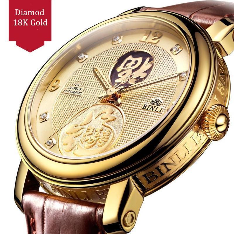 İş 18 K Altın Erkekler İzle Otomatik Mekanik Üst Hediye Erkek Saatler Moda Kişilik Yaratıcılık Adam Saat Saatı